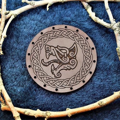 Fenrir, Fenris wolf leather patch, sew on