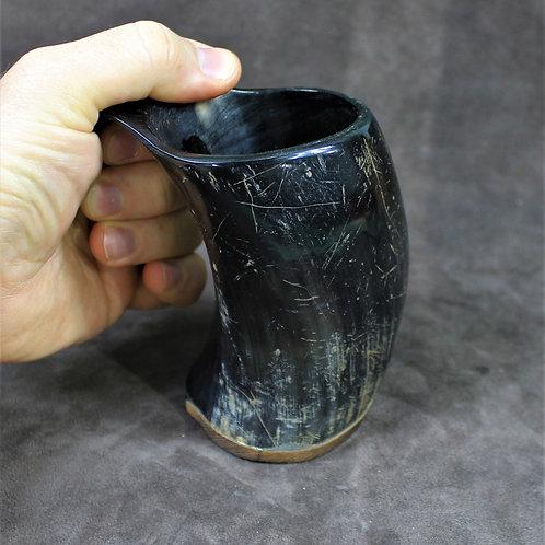 Drinking horn mug, small size, rough finish