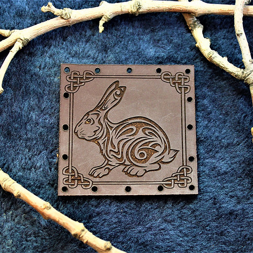 Viking style carved leather bunny patch