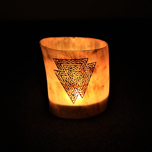 Valknut candle holder, carved horn, fits a tea light