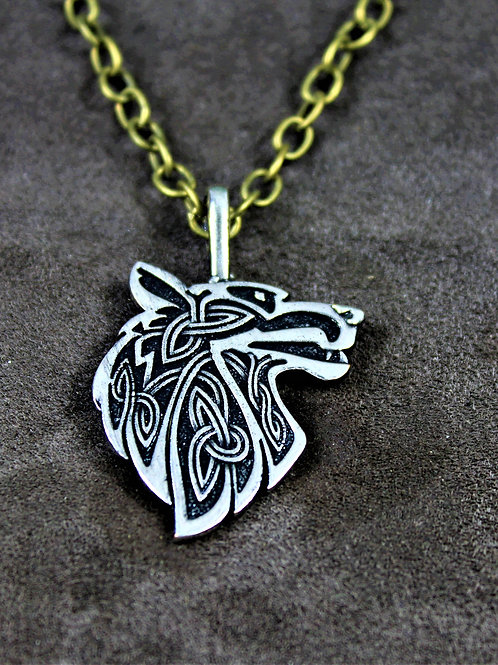 Viking wolf necklace, double sided pendant on chain