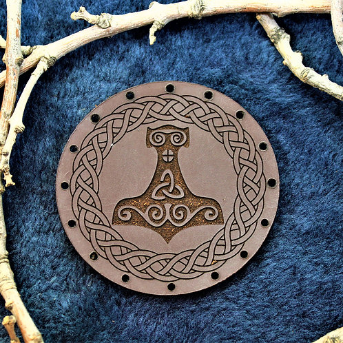 Thor's hammer - Mjolnir - carved leather patch