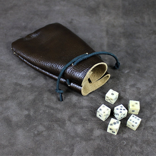 Dice and brown dice bag, set of 6 plus leather draw-bag