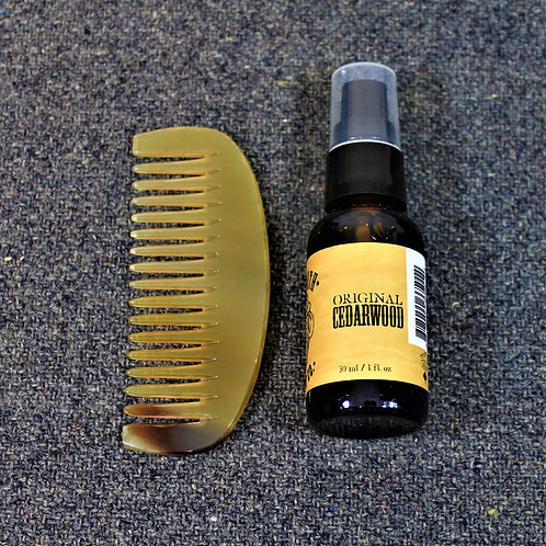 SALE - Mammoth beard oil and horn comb, Original Cedarwood scent