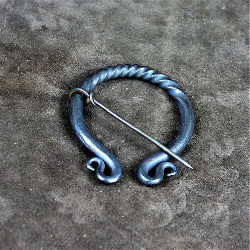 Hand forged iron cloak pin, pennanular brooch