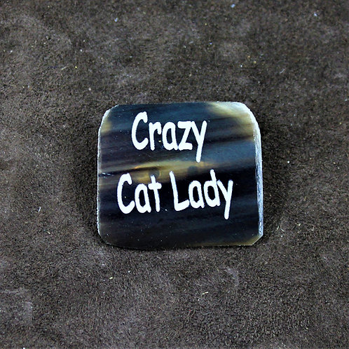 Crazy cat lady, horn pin, brooch