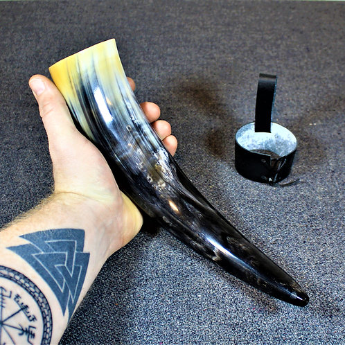 Drinking horn with belt holster, Viking style cup