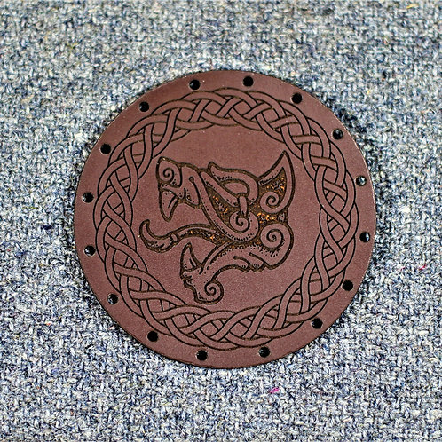Fenrir, Fenris wolf leather patch, sew on