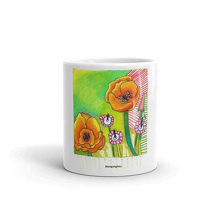 Poppies glossy mug