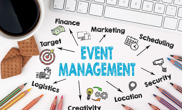 Event management concept. Computer keybo