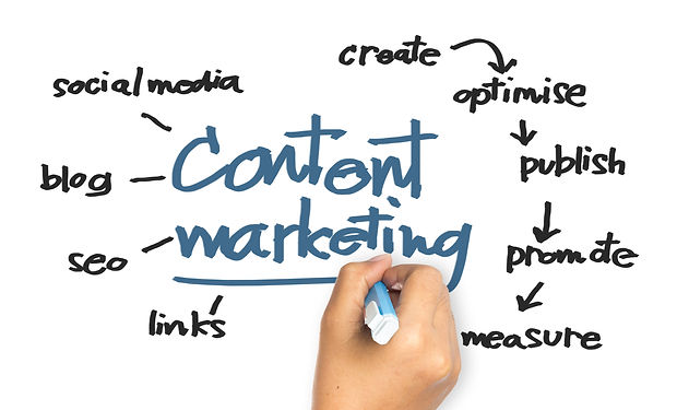 Hand writing Content Marketing concept o