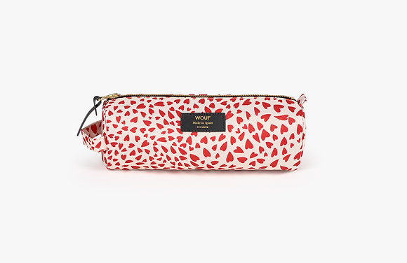Wouf - Trousse à crayons Coeurs rouge