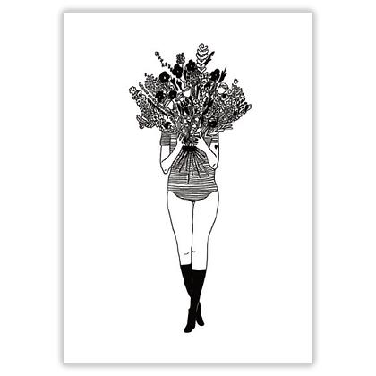Helen B - Carte postale Femme fleurs