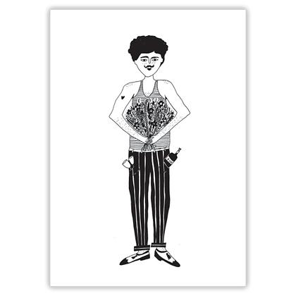 Helen B - Carte postale Homme fleurs