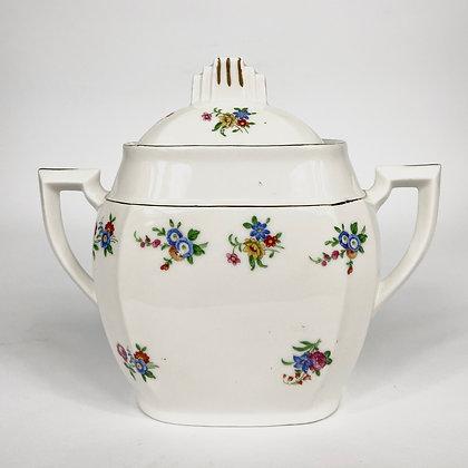 Vintage - Sucrier blanc et fleurs