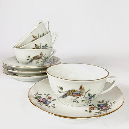 Vintage - Lot de 4 tasses et soucoupes Pillivuyt