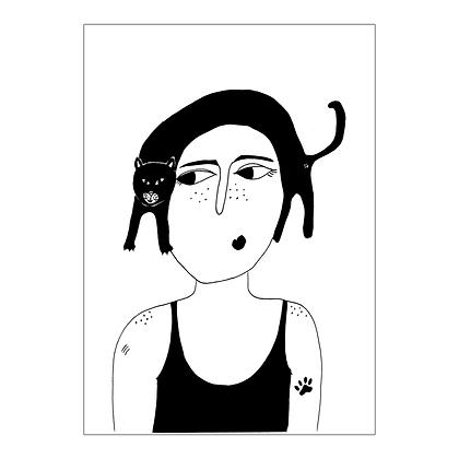 Helen B - Carte postale Chat Tête