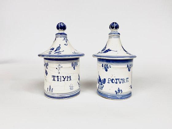 Vintage - Paire de pots couverts