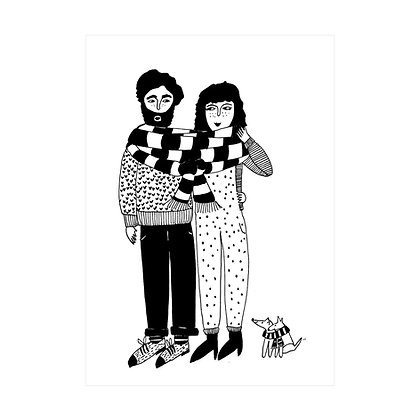Helen B - Carte postale Couple Echarpe