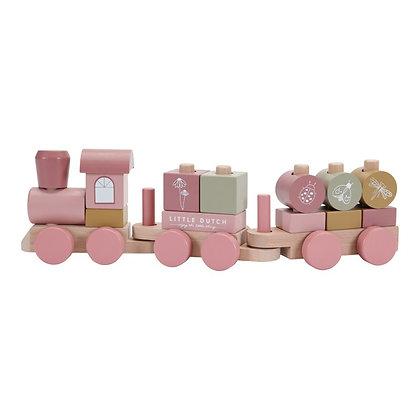 Copie de Train à blocs en bois rose