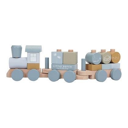 Train à blocs en bois bleu