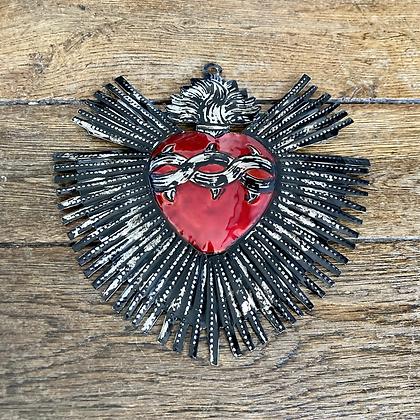 Grand cœur ex-voto en métal