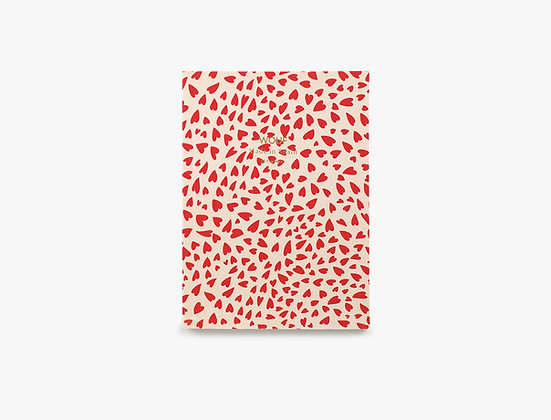 Wouf - Carnet A6 Coeurs rouge