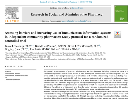 A study protocol on pharmacy enrollment in IISs