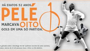 Há exatos 52 anos, Pelé marcava oito gols em uma só partida.