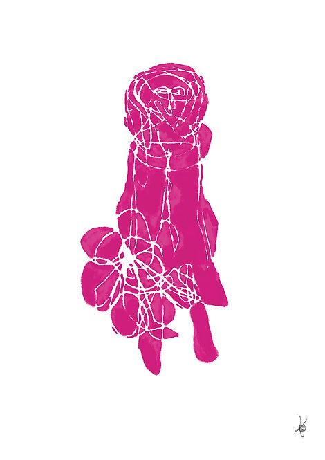 Pink Flowergirl, Artwork Poster