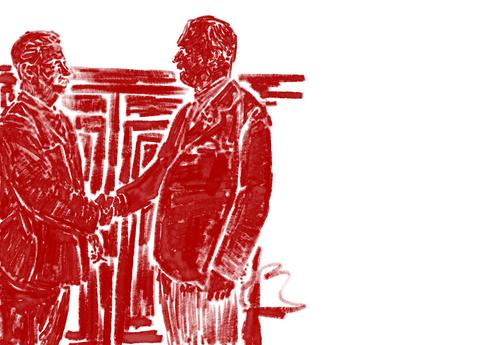 Sovjet-Unie, augustus 1939, Op 23 augustus 1939 wordt in het Kremlin van Moskou een niet-aanvalsverdrag tussen het Duitse Rijk en de USSR ondertekend. Na de ondertekening heeft J.W. Stalin en de Duitse minister van Buitenlandse Zaken Joachim von Ribbentrop (rechts).