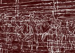 """Op de foto zie je Joodse kinderen uit het concentratiekamp Auschwitz. De foto is gemaakt door Russische soldaten een paar dagen nadat het kamp is bevrijd. Alle dertien kinderen op de foto hebben een heel zware tijd gehad in het kamp.   Gabriel is nog maar zes jaar oud als hij samen met zijn familie naar Auschwitz wordt gebracht. Het is begin november 1944 als ze met de trein aankomen in het kamp. Al na een paar dagen werd Gabriel gescheiden van zijn familie. Hij werd geplaatst in een barak, een soort schuur, speciaal voor kinderen. Iedere ochtend werd Gabriel wakker gemaakt door het geschreeuw van de Duitse bewakers. Dan moest hij de barak schoonmaken, zijn bed opmaken en douchen. Het was iedere dag hetzelfde, zegt Gabriel. """"We mochten ons na het douchen nooit afdrogen. Nog helemaal nat moesten we buiten in de sneeuw gaan staan. Netjes in een rij, zodat de kampbewaarders ons konden tellen. """"  Gabriel (6)  Gabriel kreeg maar één maaltijd per dag. En dat was vaak niet meer dan een stuk droog brood. Eten moest je gelijk opeten of verstoppen, want anders werd het gestolen door andere kinderen."""