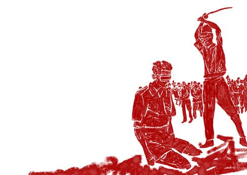 Aitape, Nieuw Guinea. Oktober 1943. Een op het lichaam van een dode Japanse soldaat gevonden foto van sergeant Leonard G. Siffleet . Leonard Siffleet draagt een blinddoek en zijn handen zijn vastgebonden. Naast hem staat Yasuno Chikao gereed om hem met een zwaard te executeren. De executie was bevolen door Vice-admiraal Kamada, de commandant van de Japanse marine. Yasuno Chikao stierf voor het einde van de oorlog.
