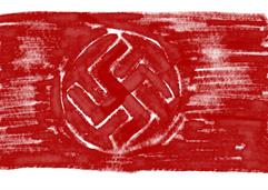 """de oudere vlag. Tegelijkertijd verklaarden ze de partijvlag van de NSDAP, de vlag met het hakenkruis, als 'tweede nationale vlag'. Op 15 september 1935 werd de hakenkruisvlag de enige nationale vlag, omdat de zwart-wit-rode driekleur te 'reactionair' zou zijn. Deze hakenkruisvlag had dezelfde kleuren als de keizerlijke vlag, maar bestond uit een rood veld met een witte schijf in het midden, met daarin een zwarte swastika. De vlag werd samen met veel andere nationaalsocialistische symbolen door Adolf Hitler zelf ontworpen, hoewel hij in Mein Kampftoegeeft dat een tandarts uit Starnberg eerder vrijwel hetzelfde ontwerp maakte. Adolf Hitler zou het hakenkruis bij excentrieke Duitse-nationale groeperingen hebben kunnen leren kennen, maar noemt in Mein Kampf niet de swastika uit het wapen van de Theoderich Hagn, abt van het klooster in Lambach waar de jonge Adolf koorknaap was; hij moet de in 1860 boven kerkdeur en poort aangebrachte wapenschilden met """"een gouden swastika met omgebogen punten, op een blauw veld"""" desondanks dagelijks hebben gezien. De NSDAP hees in de zomer van 1920 voor het eerst een swastikavlag. Hitler en zijn aanhangers waren zo enthousiast over hun nieuwe vaandel met het oude """"Germaanse"""" motief dat de """"de uitwerking ervan was als de uitwerking van een brand."""" Naast de zon moest het hakenkruis ook verwijzen naar de door de NSDAP gepropageerde overwinning van het Arische ras. De dominante rode kleur van de vlag werd door Hitler gekozen omdat het """"een opwindend effect voor het oog oplevert en men daarom kan verwachten dat het de aandacht van onze vijanden opwekt en hen irriteert."""" Het wit symboliseert het nationaalsocialisme zelf, maar ook de reinheid van het Arische ras."""