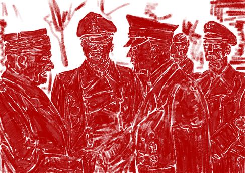 Tweede Wereldoorlog 1939-45 24 oktober 1940 Adolf Hitler verwelkomt het Franse staatshoofd maarschalk Henry Philippe Petain in Montoire-sur-le-Loir. In het midden, hoofdtolk, minister Dr. Paul Schmidt. Aan de rechterkant, Reichsminister van Buitenlandse Zaken Joachim von Ribbentrop.