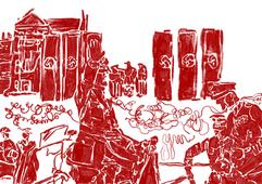 """Nadat Hitler in 1933 Neurenberg had uitgeroepen tot """"Stad van de Nazi-partijbijeenkomsten"""", begon de bouw van monumentale gebouwen voor de massabijeenkomsten van de partij op elf vierkante kilometer (4,25 vierkante mijl) in het zuidoostelijke deel van de stad. Zelfs vandaag de dag getuigen de overblijfselen van enorme bouwwerken van de grootheidswaanzin van het nationaal-socialistische regime."""