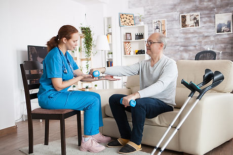 Female nurse sitting on chair helping se