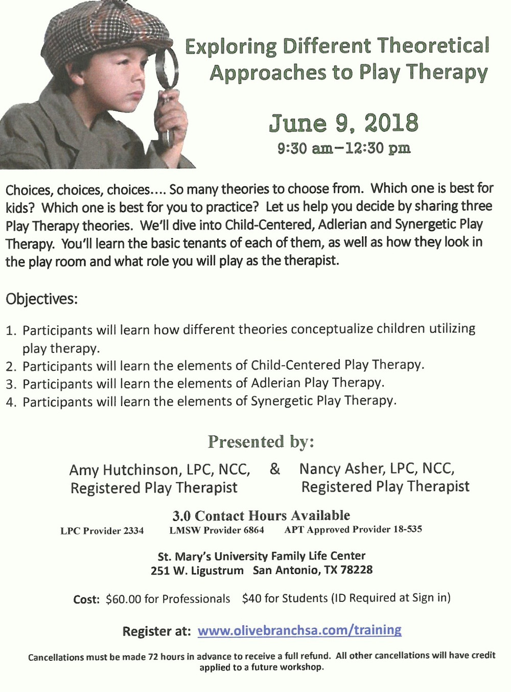 Exploring different theoretical approaches to play therapy