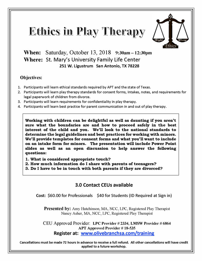 Great training on Play therapy and Ethics!