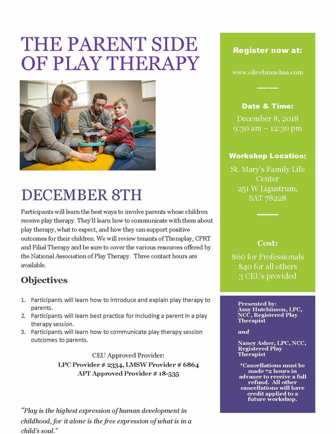 Don't miss The Parent Side of Play Therapy!