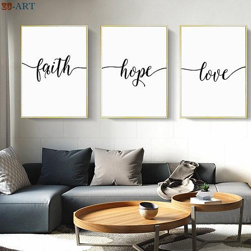 "Toile peinture mur ""Faith Hope Love"""