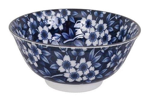 קערת פרחים רקע כחול כהה M