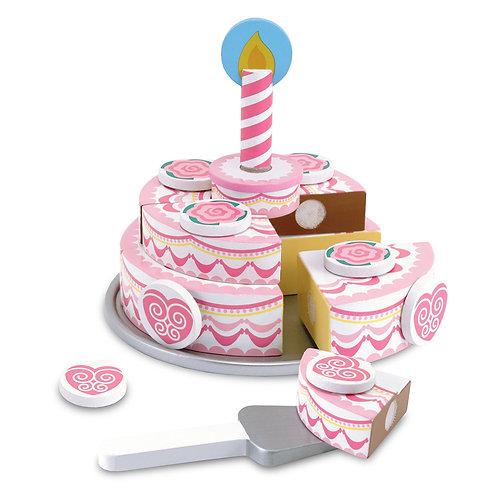 עוגת יומולדת שלוש קומות מעץ