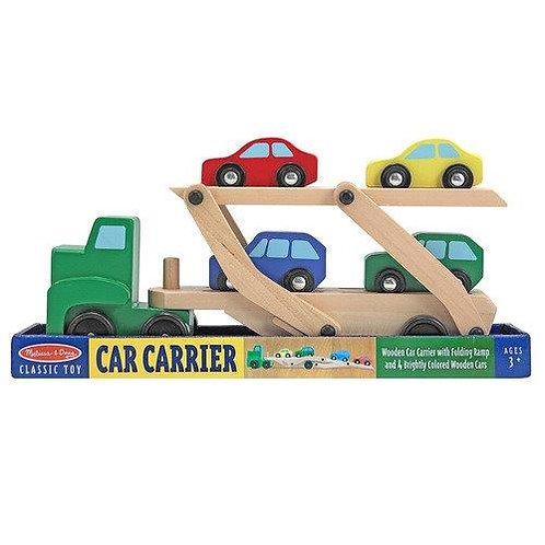 מוביל מכוניות מעץ עם 4 מכוניות מבית Melissa and Doug