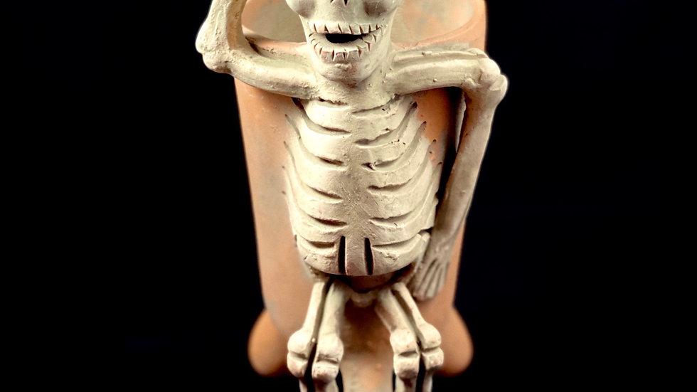 Mictlan skeletal clay offering cup