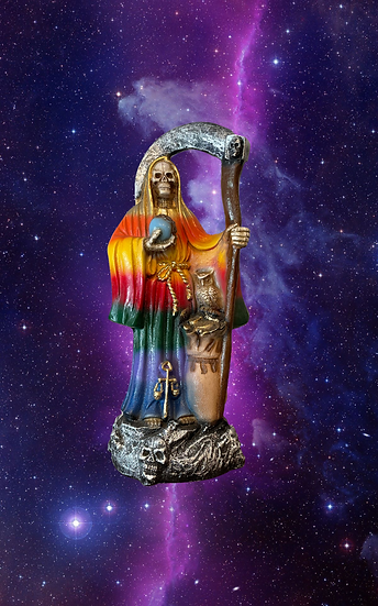 "13"" Santa Muerte / rainbow robe"