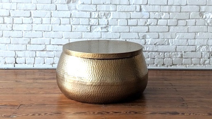 HAMMERED METAL COFFEE TABLE - GOLD | Now available at Birch and Brass