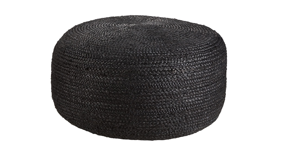 BLACK JUTE POUF | Now available at Birch and Brass