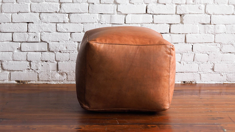 LEATHER POUF - CAMEL | Now available at Birch and Brass