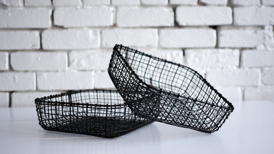 WOVEN WIRE SERVING BASKETS